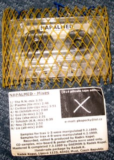 From the Czech Republic came Napalmed, the project of Radek Kopel. This is a remix tape of noise assaults done in 1999.