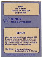 The back of the Minoy baseball card. Courtesy of Hal McGee.