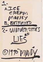 "The hand written inner cover to ""Ice Cream Money""."