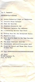 """Jay T. Yamamoto's track listing for """"Purchase-Play-Dispose"""""""