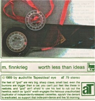 M Finnkrieg  worth less than ideas  1989