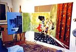 When Kevyn Dymond and I visited his flat in 1991 he also showed us his very impressive visual art. You can see that this painting extended into three dimensions. Detail below.