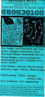 """His classic well distributed release, """"Notochord"""" which introduced his music to many because it was one of the earliest of home taper CDs. You can see the all star lineup of heavyweight improvisers in the credits."""