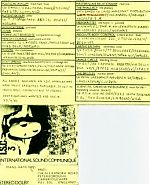"""Xport also produced excellent compilation tapes called """"International Sound Communique's"""". The text is a bit small above but features bands from the U.K., Norway, USA and Europe."""